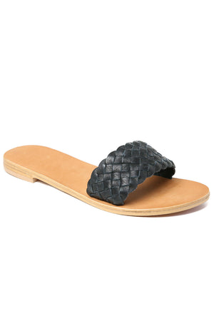 Malibu Black Braided Leather Slide Sandal Front