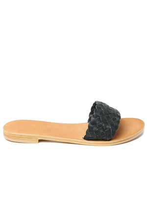 Malibu Black Braided Leather Slide Sandal Side
