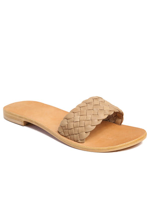 Malibu Natural Braided Leather Slide Sandal Front