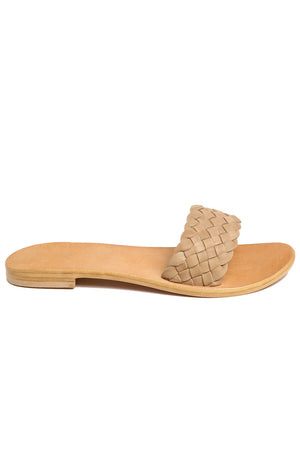 Malibu Natural Braided Leather Slide Sandal Side