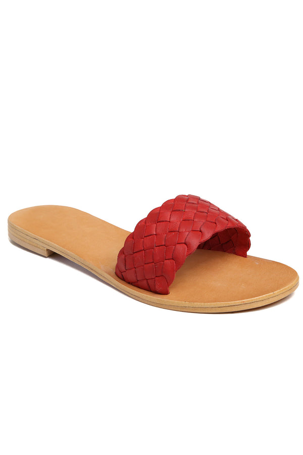 Malibu Red Braided Leather Slide Sandal Front