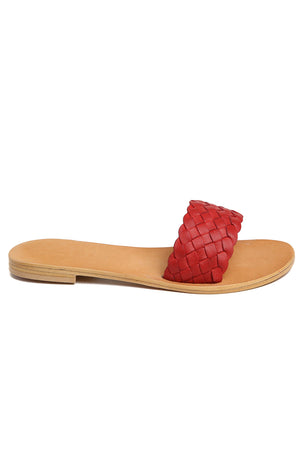 Malibu Red Braided Leather Slide Sandal Side