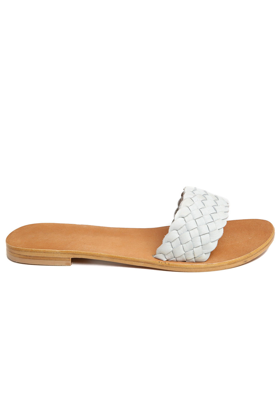 Malibu White Braided Leather Slide Sandal Front