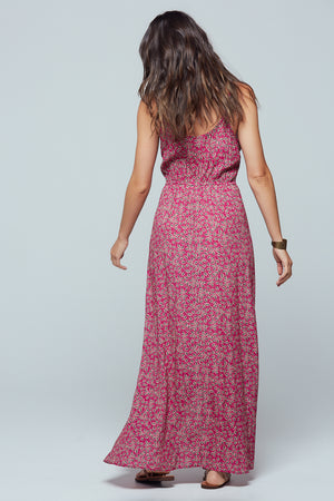 Mallorca Floral Faux Wrap Maxi Dress Back