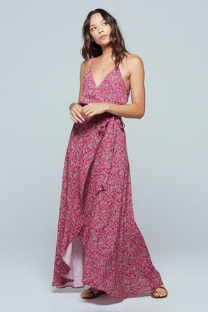 Mallorca Floral Faux Wrap Maxi Dress Detail