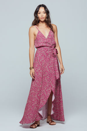 Mallorca Floral Faux Wrap Maxi Dress Master