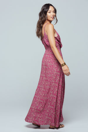 Mallorca Floral Faux Wrap Maxi Dress Side