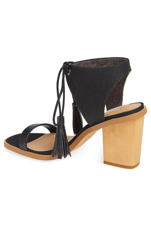 Margarita Vegan Black Canvas Tie Up Sandal Back