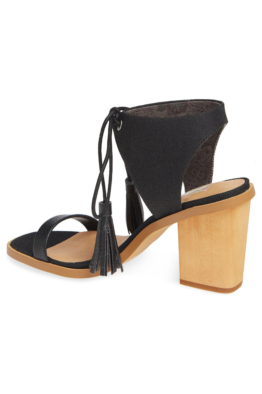 Margarita Vegan Black Canvas Tie Up Sandal Master