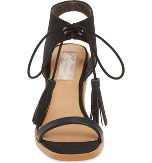 Margarita Vegan Black Canvas Tie Up Sandal Front