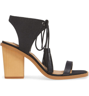 Margarita Vegan Black Canvas Tie Up Sandal Side