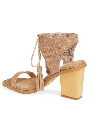 Margarita Vegan Tan Canvas Tie Up Sandal Back