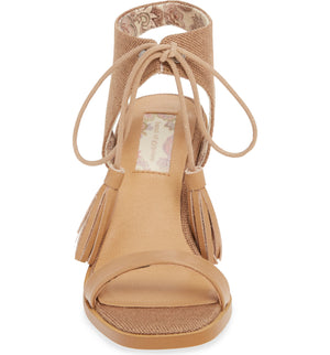 Margarita Vegan Tan Canvas Tie Up Sandal Front