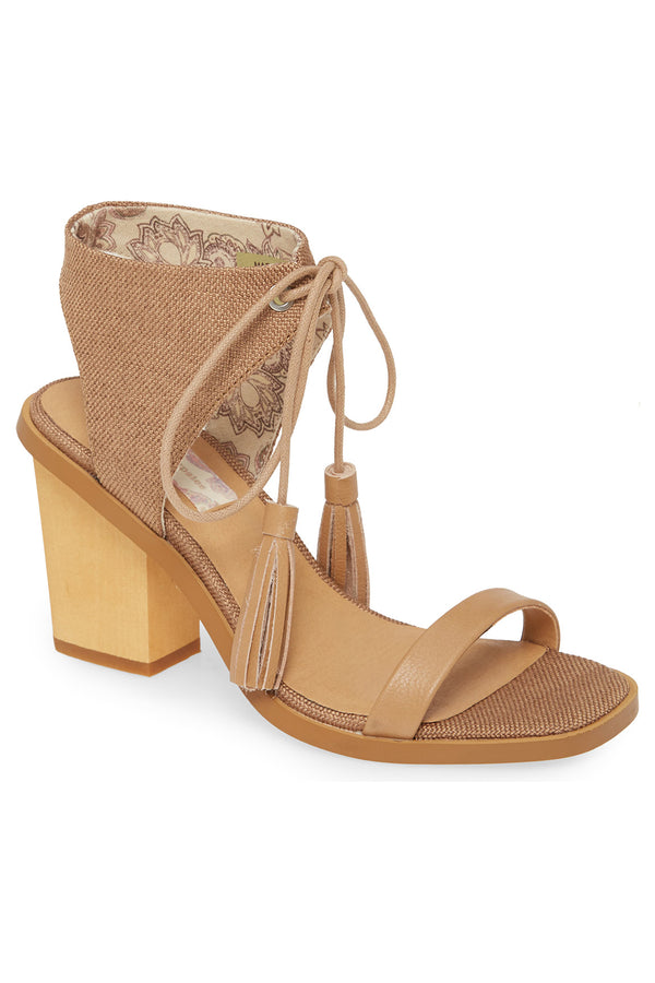 Margarita Vegan Tan Canvas Tie Up Sandal Master