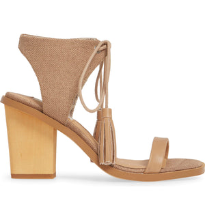 Margarita Vegan Tan Canvas Tie Up Sandal Side