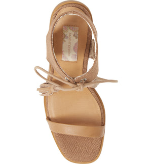 Margarita Vegan Tan Canvas Tie Up Sandal Top