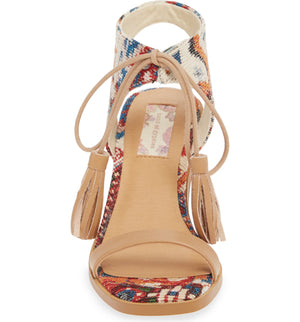 Margarita Vegan Tapestry Canvas Tie Up Sandal Front