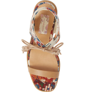 Margarita Vegan Tapestry Canvas Tie Up Sandal Top