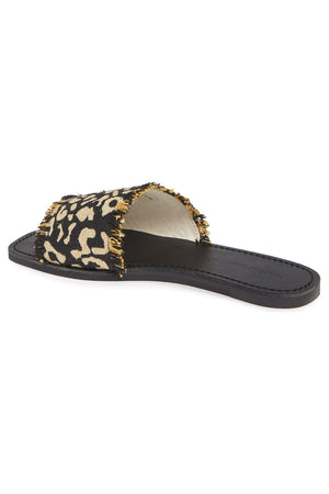 Marina Black Leopard Woven Canvas Slide Sandal Back