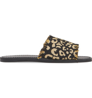 Marina Black Leopard Woven Canvas Slide Sandal Side