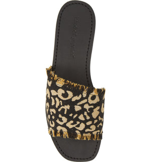Marina Black Leopard Woven Canvas Slide Sandal Top