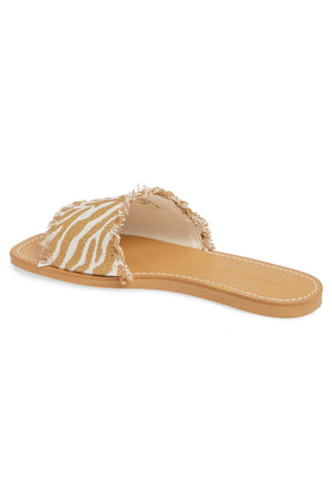 Marina Natural Zebra Woven Canvas Slide Sandal Back