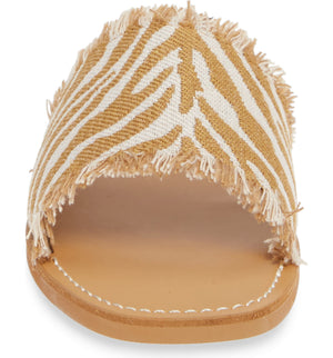 Marina Natural Zebra Woven Canvas Slide Sandal Front