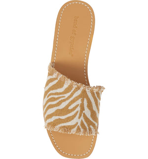 Marina Natural Zebra Woven Canvas Slide Sandal Top