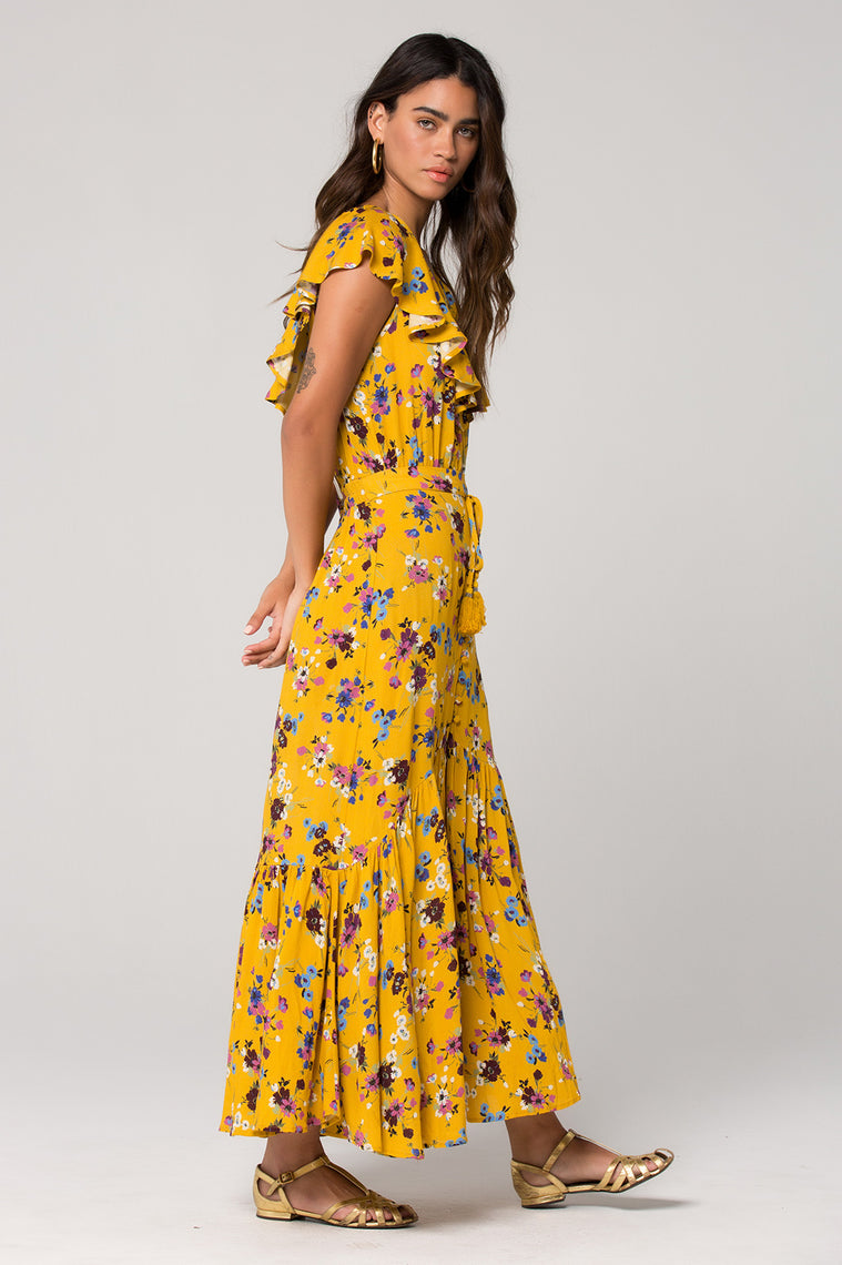 Marseille Button Down Floral Maxi Skirt Side Detail