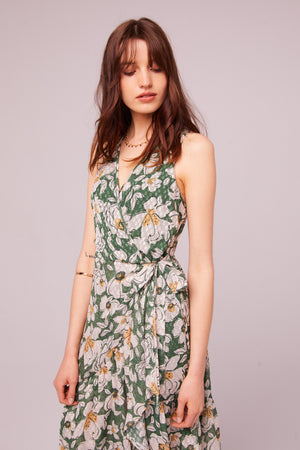 Maxella Floral Sleeveless Wrap Maxi Dress Detail