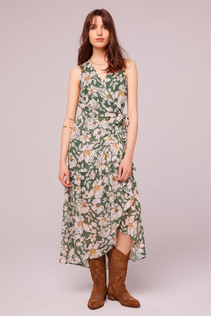 Maxella Floral Sleeveless Wrap Maxi Dress Front