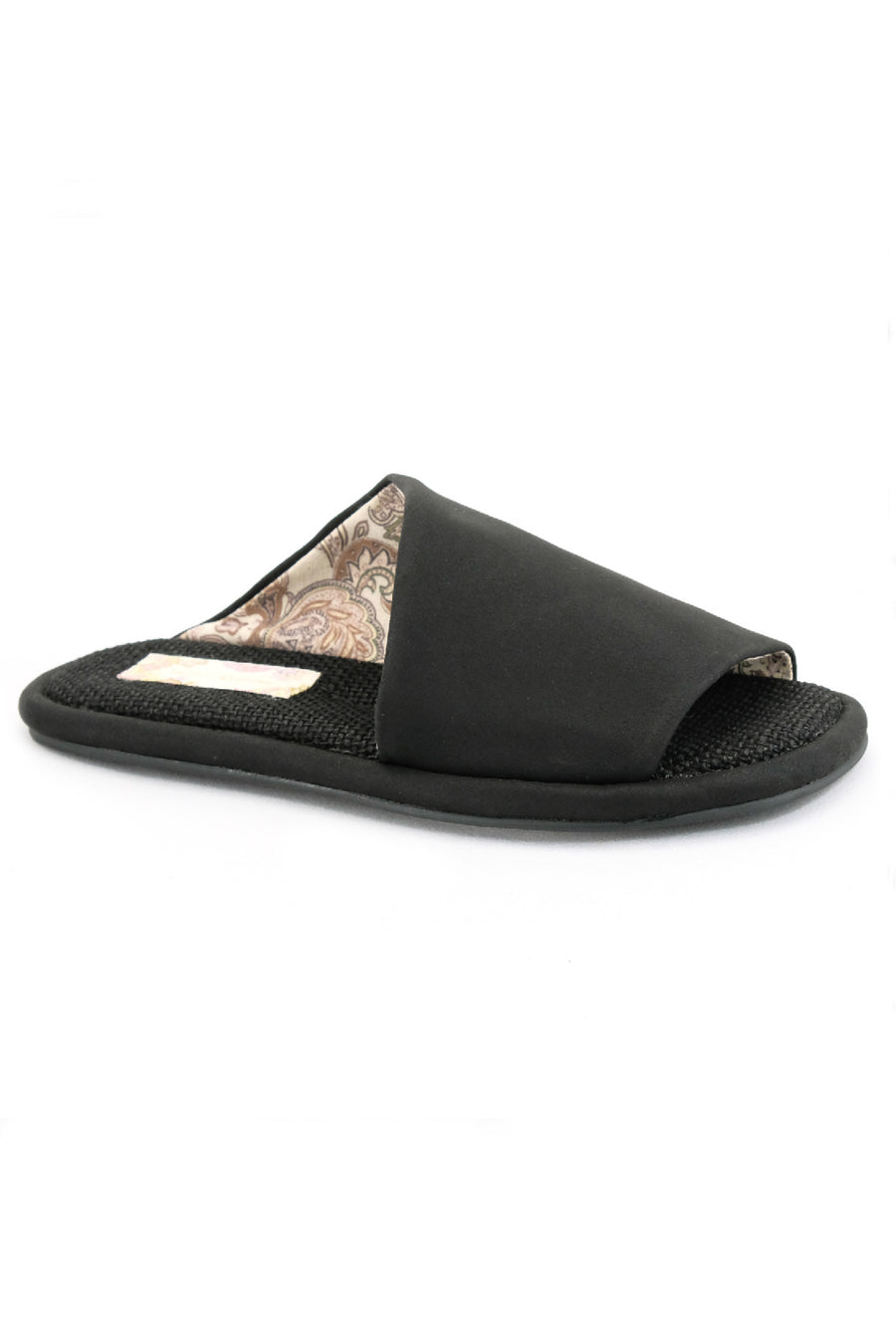 Maya Brushed Satin Black Vegan Slide Sandal Master