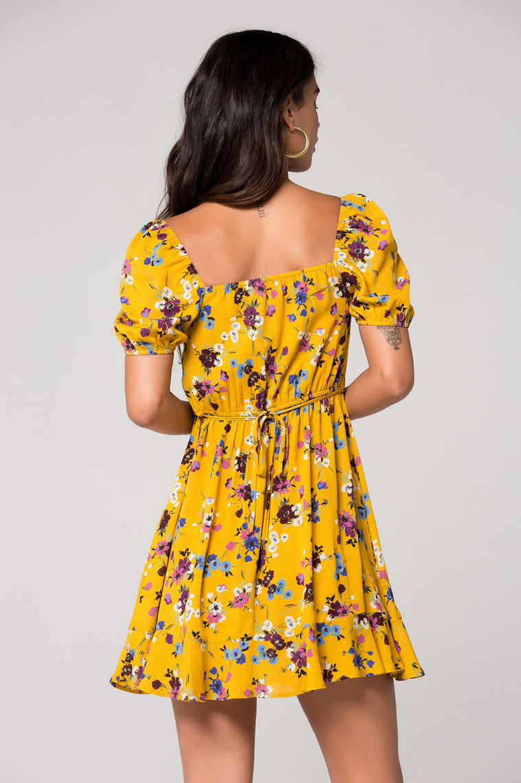 Melbourne Mustard Floral Printed Ruche Dress Back