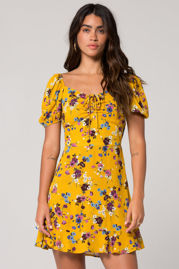 Melbourne Mustard Floral Printed Ruche Dress Master