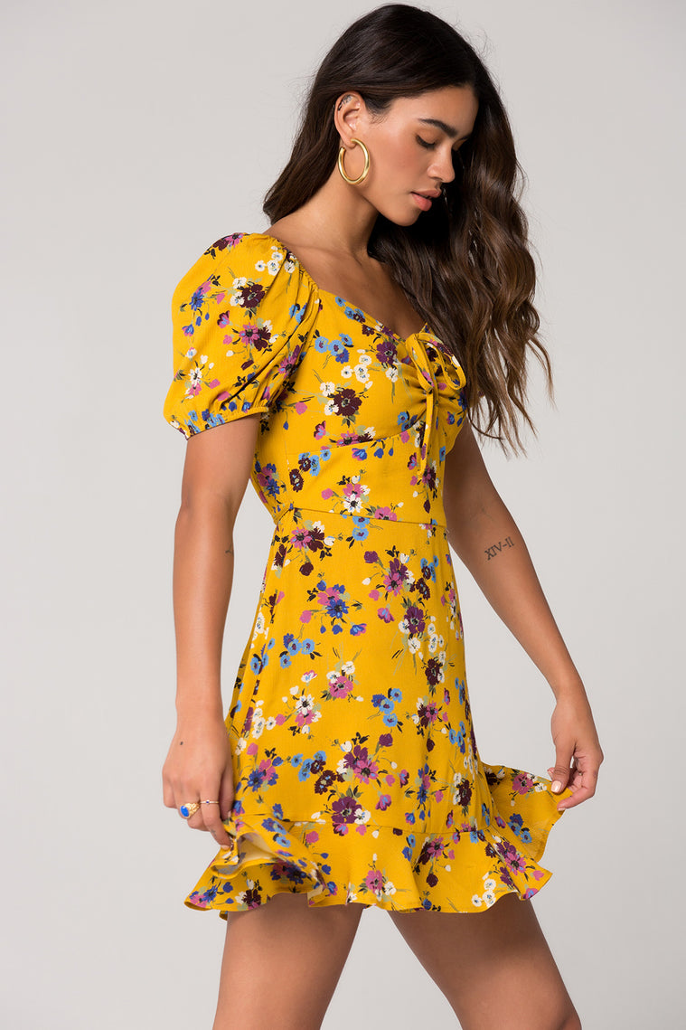 Melbourne Mustard Floral Printed Ruche Dress Side