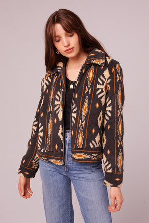 Melrose Vegan Shearling Printed Jacket