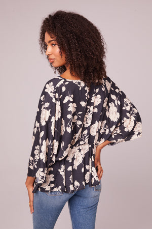 Mendocino Black and Ivory Flare Blouse Back