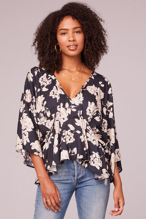 Mendocino Black and Ivory Flare Blouse Front 2