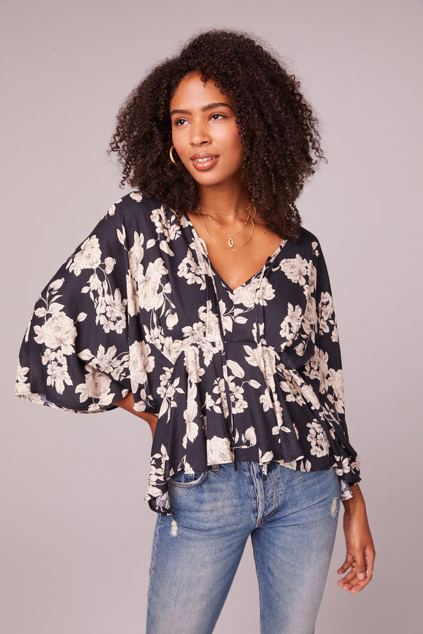 Mendocino Black and Ivory Flare Blouse Master
