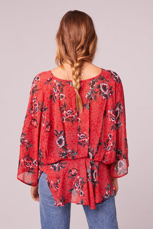Mendocino Red Floral Batwing Sleeve Top Back