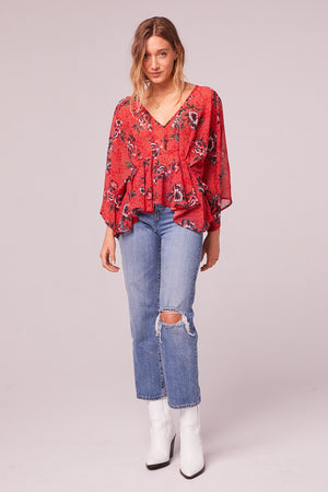 Mendocino Red Floral Batwing Sleeve Top Detail