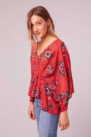 Mendocino Red Floral Batwing Sleeve Top Front