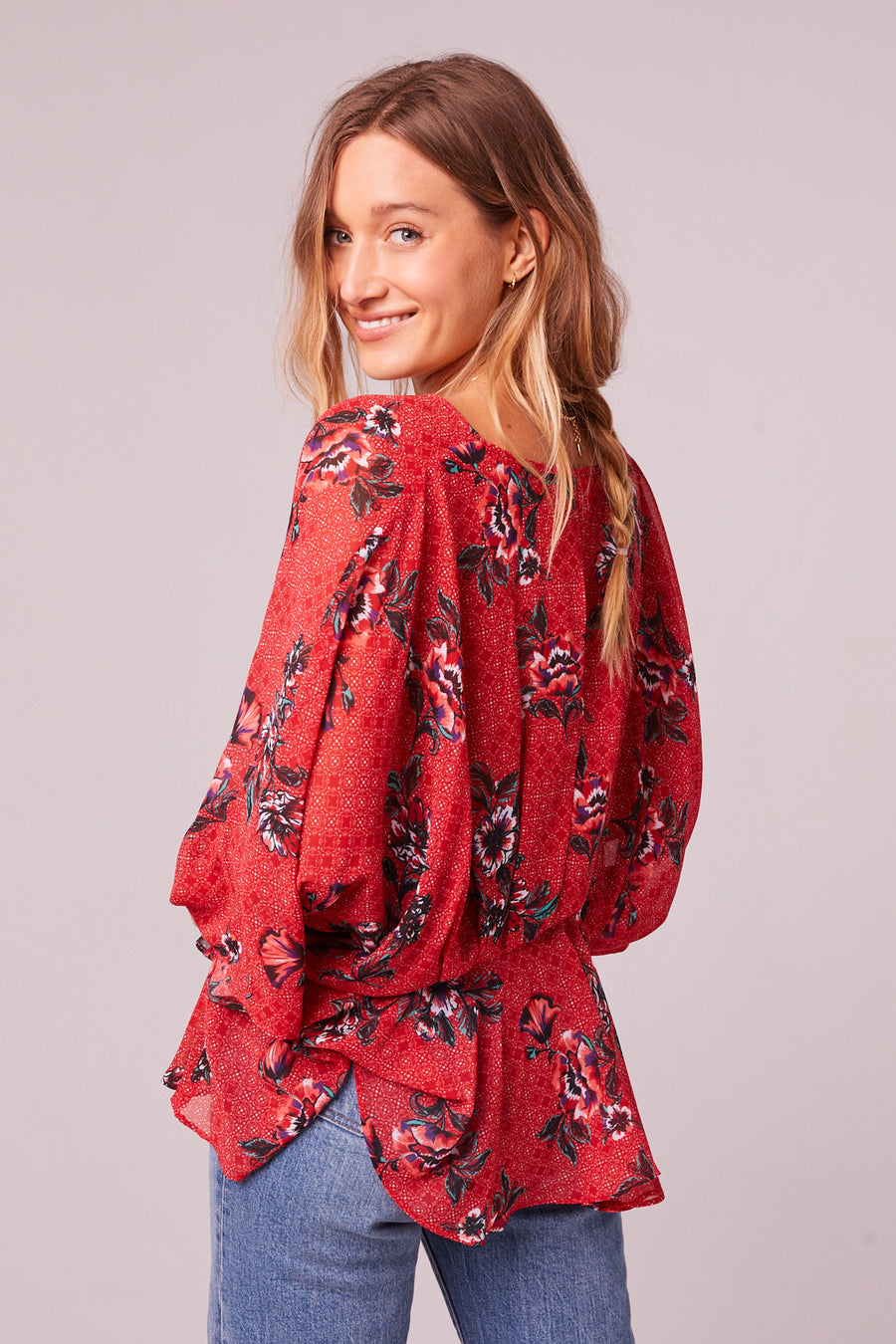 Mendocino Red Floral Batwing Sleeve Top Master