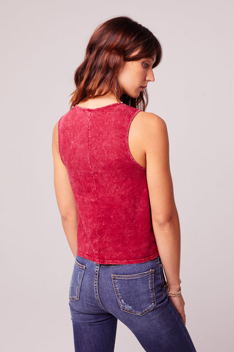 Mineral Washed Red Tie Front Top Back