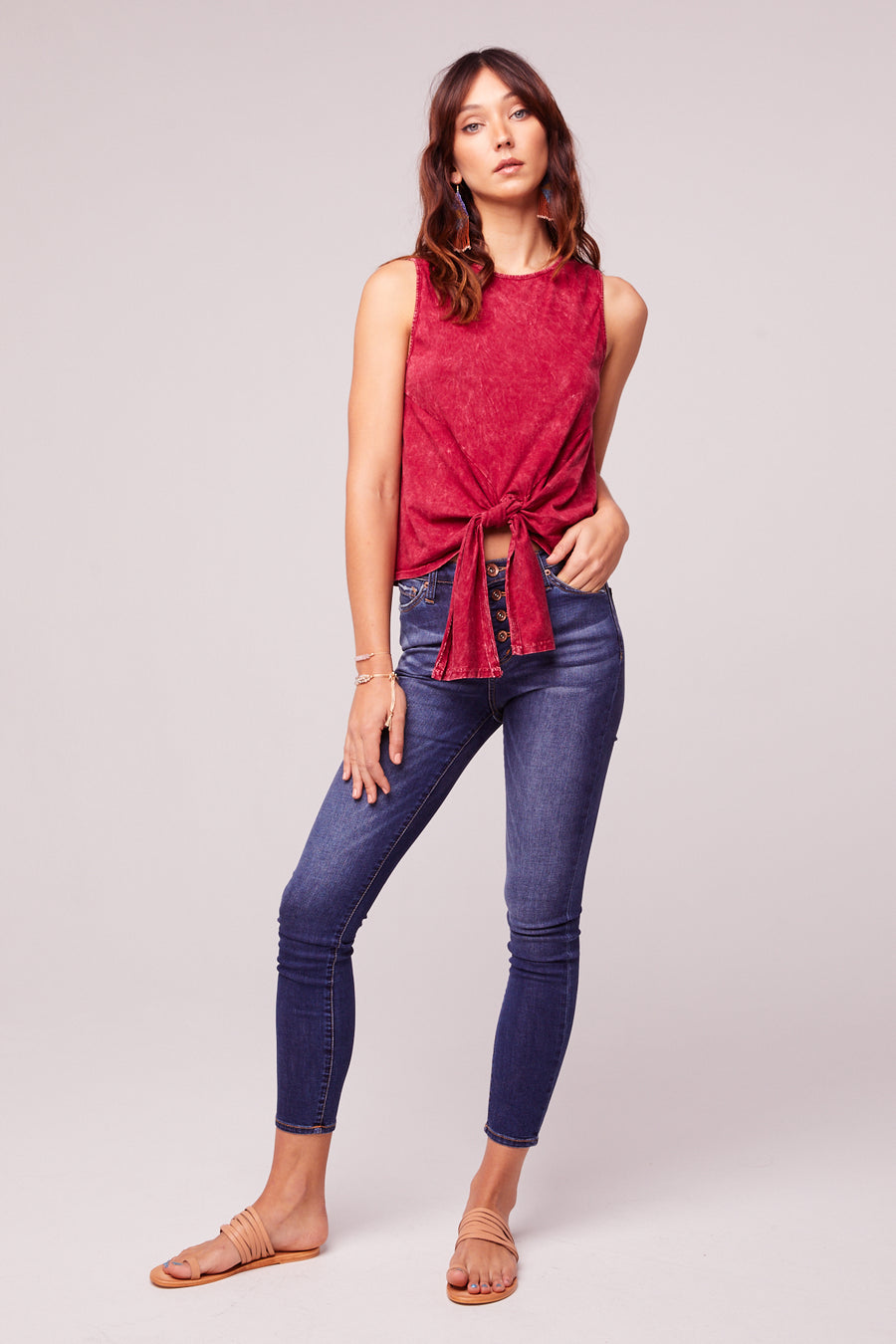 Mineral Washed Red Tie Front Top Master