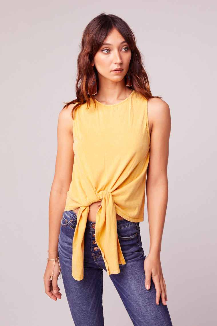Mineral Washed Yellow Tie Front Top Front