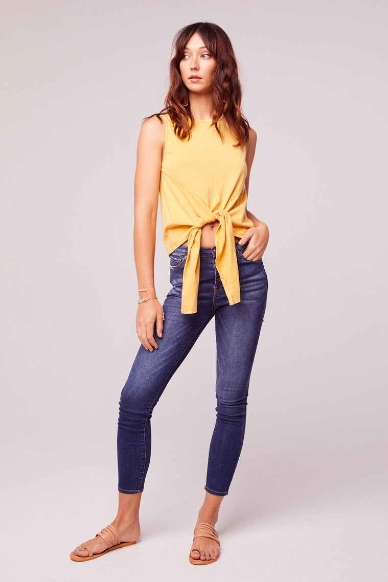 Mineral Washed Yellow Tie Front Top Master