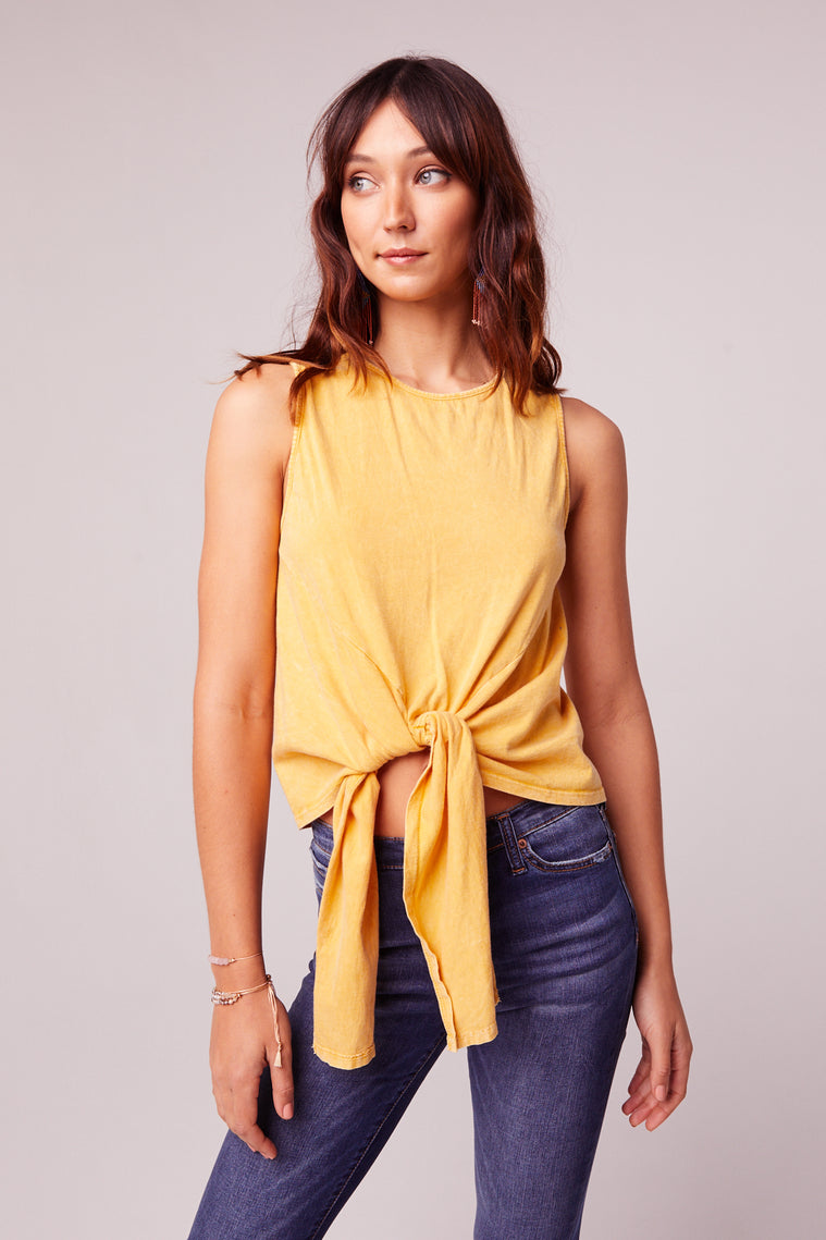Mineral Washed Yellow Tie Front Top Detail