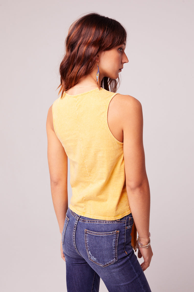 Mineral Washed Yellow Tie Front Top Back