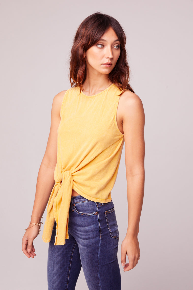 Mineral Washed Yellow Tie Front Top Side